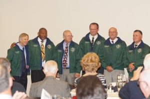 2014 Hall of Fame Inductees show of their green jackets for the first time! L-R: Mike Jordan, Bobby Lloyd, Tim Sappenfield, Steve Atwood, Joel McCanna, Ronnie Sigmon