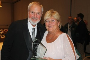 "Director Gary Townsend with Lisa Burns, recipient of the ""Outstanding Volunteer"" award 2017"