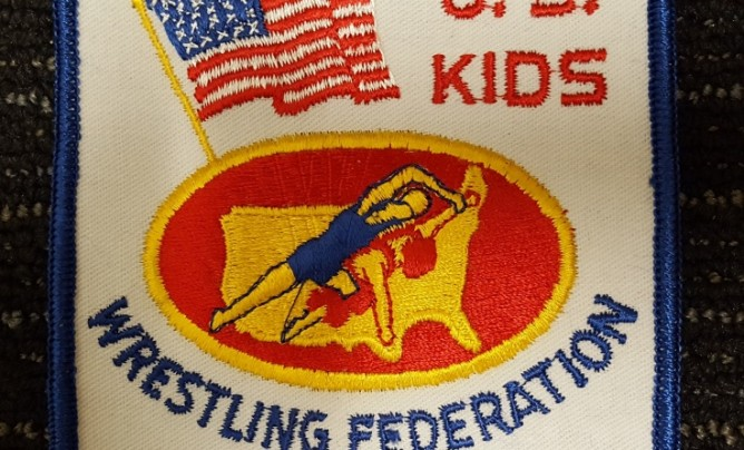 U S Kids Wrestling Federation squqre patch