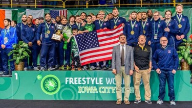 Team USA World Cup on podium with medals